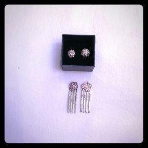Jewelry - 1 set pink hair pins & 1 pr clear earrings